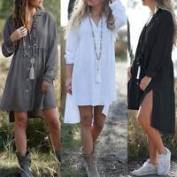 ZANZEA Women Button Down Mini Shirt Dress Long Sleeve Split Irregular Hem Dress
