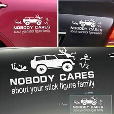 NOBODY CARES About Your Stick Figure Family Funny Sticker Decal for Car Window