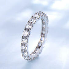 2ct Round Cut Infinity Eternity Anniversary Wedding Band 14k Solid White Gold