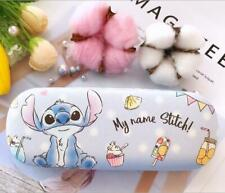 Cute Blue Stitch Hard Shell Glasses Eyeglass Case Box PU Leather Protector Cover