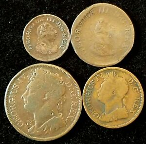 Ireland Lot of 4 Coins 1806 Farthing, 1805 & 1822 1/2 Half Penny & 1822 1 Penny