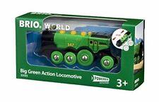 BRIO World 33593 Grüner Gustav elektrische Lok – Batterie-Lokomotive mit Licht &