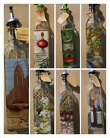 Oil & Vinegar EVOO Glass Decorate Dispenser Cruet with Pourer Variety of Bottles