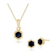 bd04b7f65875 Gemondo 9ct Oro Amarillo Zafiro Hexagonal Pendiente y 45cm Collar Set