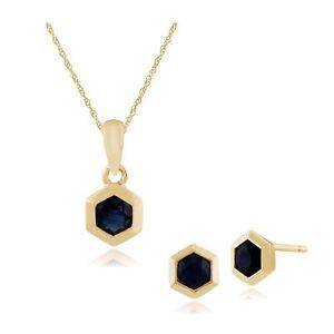 Gemondo 9ct Yellow Gold Sapphire Hexagon Stud Earring & 45cm Necklace Set