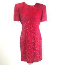 109c8b9bc8 VTG Beaded Drama Sequin Shift Dress Women's Size S Silk Short Sleeve Party