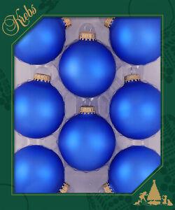 Krebs 8 pk Christmas Ball Glass Blue Velvet Satin Finish NIB Gold Crown CBK70419
