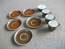 CP & CO MEHUN FRANCE (LIMOGES ?BROWN-5 SAUCERS,3 CUPS & SUGAR BOWL-APPEAR UNUSED