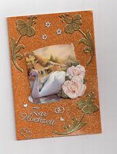 3D Glückwunschkarte zur Hochzeit,Grußkarte,gold, Schwan mit Rosen,K2