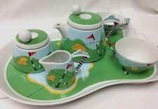 KARLOVARSKY GOLF TEA SET 8 PIECE TEAPOT,SUGAR, CREAMER PORCELAIN CZECH REPUBLIC