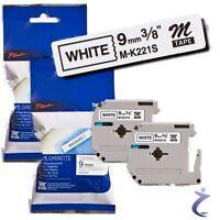 2x BROTHER Beschriftungsband M-K221S  P-touch 80 85 110 original Schwarz a. Weiß