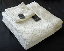 LUXURY TAHARI HOME ANTIQUE OATMEAL & CREAM 100% COTTON BATH TOWELS 3PC SET