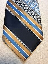 Vintage Don Peters Mens Tie 4.25 X 55 Baby Blue With Black And Gold