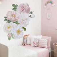 AU_ Pink Peony Rose Flower Art Wall Sticker Living Room TV Background DIY Decora
