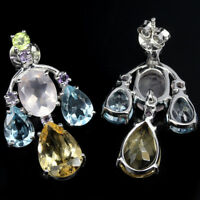 925 STERLING SILVER 9.20 CTW AMETHYST, PERIDOT,CITRINE, QUARTZ & TOPAZ EARRINGS