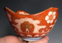Antique Japanese Kutani Meiji Kaga Fuku Porcelain Red Floral Bowl