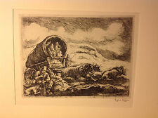 1937 AAA ORIGINAL PRINT 'PIONEERS RESTING' by EUGENE HIGGINS FINE EX. 1/149
