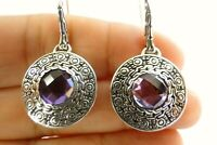 Round Purple Amethyst Solitaire Ornate Frame 925 Sterling Silver Dangle Earrings