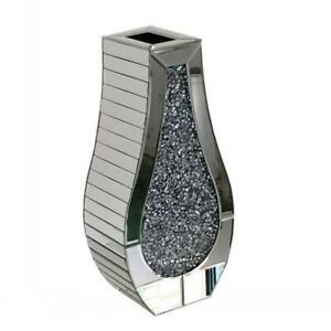 Silver Crushed Diamond Diamante Crystal Glass Flower Vase Gift New Bling Sparkle