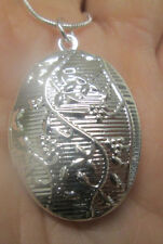 Oval Sterling Silver Locket Pendant with Vines, Leaves and Fruit
