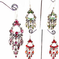ICON 2.75 in PINK GREEN RED CRYSTAL ACRYLIC CHANDELIER SILVER HOOK EARRINGS NEW