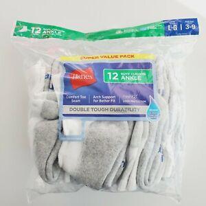 Hanes Boys' Cushion Crew Sort Socks Durable 12-Pk. (White) M-M / 9-2.5