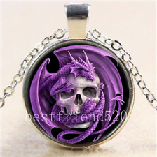 Purple Dragon And Skull Cabochon Glass Tibet Silver Chain Pendant Necklace#Z3S