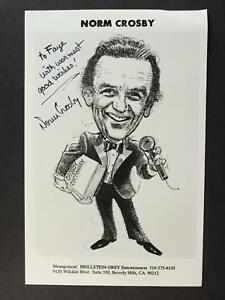 COMEDIAN NORM CROSBY (1927-2020) AUTOGRAPH 5 x 7 PHOTO~