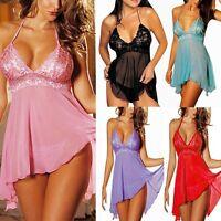 US Women Ladies Lingerie Lace Dress Underwear Babydoll Sleepwear+G-string M-3XL