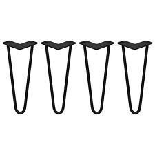 4 Gambe per Tavolo a Forcina SkiSki Legs 30,5cm Acciaio Nero 2 Rebbi 12mm