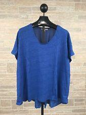 Roaman's 3X Women's Plus Size Blue Short Sleeve Cotton & Polyester Tunic Top