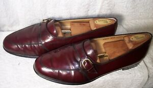 Ferragamo sz 10.5D Burgundy Leather Monk Strap Loafers Slip-on Shoes