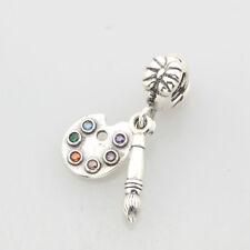 European Pandora .925 Sterling Silver Charm artist's palette, multi-colored cz