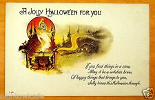 rare Nash H-49 A JOLLY HALLOWEEN Ghoul Rises from Witches' Brew Vintage Postcard