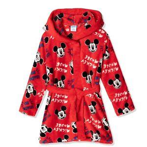 Disney Mickey Mouse Girls Boys Hooded Bathrobe Dressing Gown Towel Gift 2-8yrs