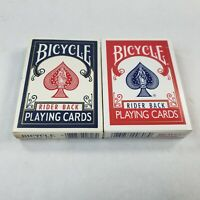 2 Decks Bicycle Rider Back 808 Standard Poker Playing Cards Red & Blue Pre-Owned