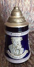 Beer Stein Mug Karl V 2000 Ceramic with Pewter Metal Thumb Lid Made In Germany