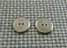 2 x Silver Tone Metal Dot Buttons 18mm Vintage Gothic Steampunk Style 2 Hole