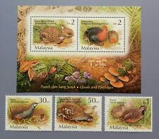 2001 Malaysia Birds --- Quails & Partridges 3v Stamps + Miniature Sheet Mint NH