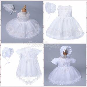 Baby Girls DressWedding Baptism Christening Easter Gown Flower Maxi + Bonnet Set