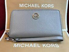 NWT MICHAEL KORS LEATHER FULTON LG FLAT MF PHONE CASE WRISTLET/WALLET-PEARL GREY