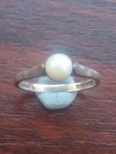 hallmarked Uk Size J 1.3grams Vintage Silver And Pearl Ring