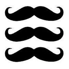"New Black Vinyl Mustache Window Car Stickers / Decals Set of 3 Free Ship 3""X1"""