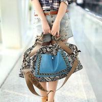 Damen Groß Canvas Handtasche Schultertasche Umhängetasche Shopper Crossbody WEB