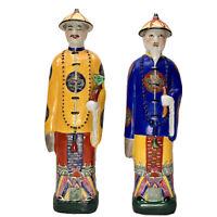 "PAIR - Vintage CHINESE EMPERORS FIGURINES Ceramic Statues 14"""
