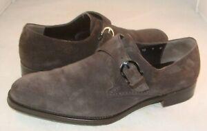 SALVATORE FERRAGAMO Faenza Brown Suede Monk Strap Loafers Shoes Men's 9 D Italy