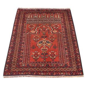 135 x 93 cm Afghan Hand-knotted Oriental Baluchi Prayer Wool Rug carpet /11352/