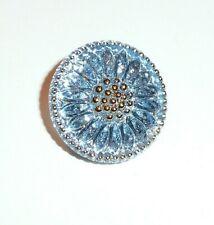 Pretty Daisy Sky Blue Czech Glass w/ Gold Finish Shank Button 18mm Silver Back