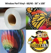 """Perforated 36"""" x 100' High Performance Eco-Solvent Ready Window Vinyl 60/40 Roll"""