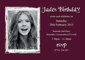 PERSONALISED BIRTHDAY PARTY INVITES With Your Own Picture Invitations Pack of 10